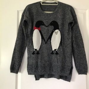 Oversized Cashmere love penguins kissing sweater